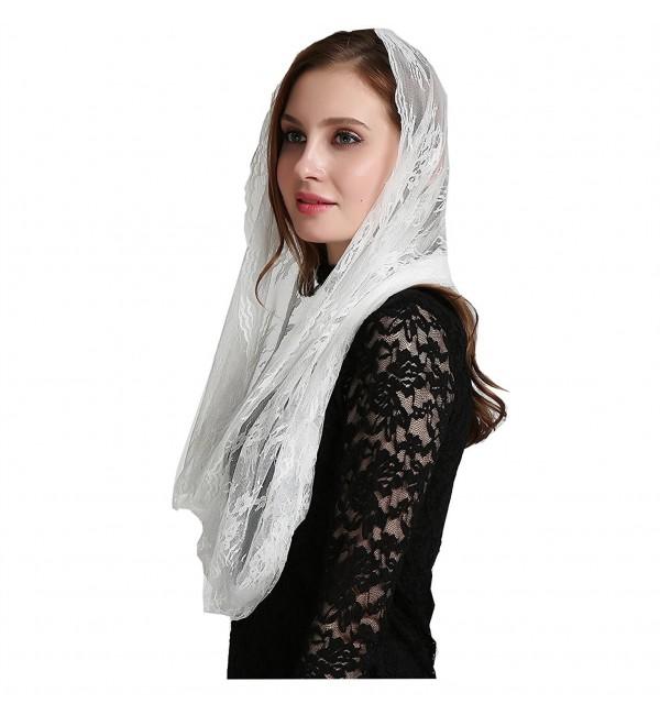 Catholic chapel veil infinity scarf mantilla floral lace veil v41 - Wrap - C5186ASYLI3