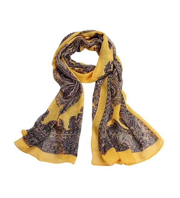 AutumnFall Women Fashion Lady Long Soft Chiffon Scarf Wrap Shawl Stole Scarves - Yellow - CZ1257RFW5F