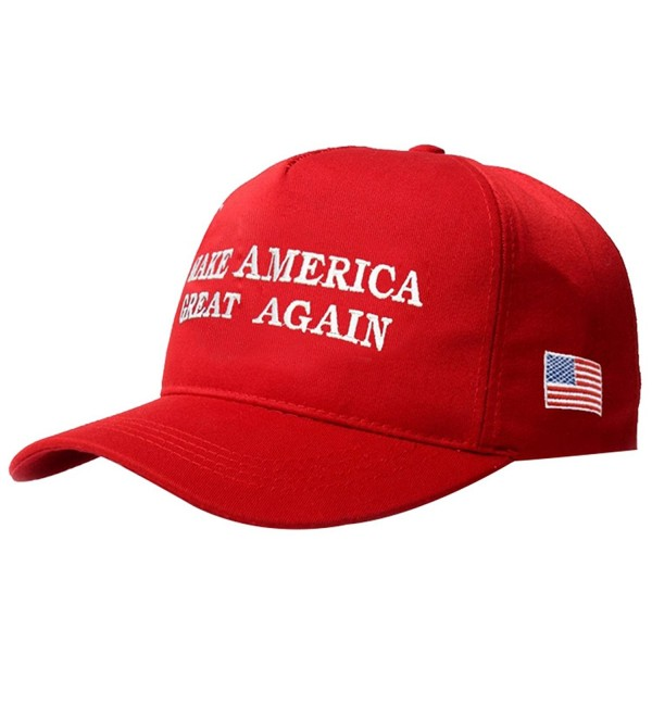 Evaliana Make American Great Again Adjustable Baseball Cap Flag Embroidered Hat - Red - CA12OCEAZOR