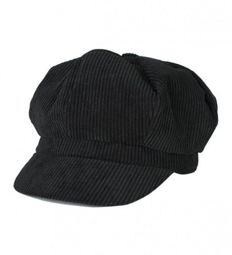 Belsen Unisex Cotton Corduroy Newsboy Cap Gatsby Ivy Hat - Black - CQ12LOAGL2V