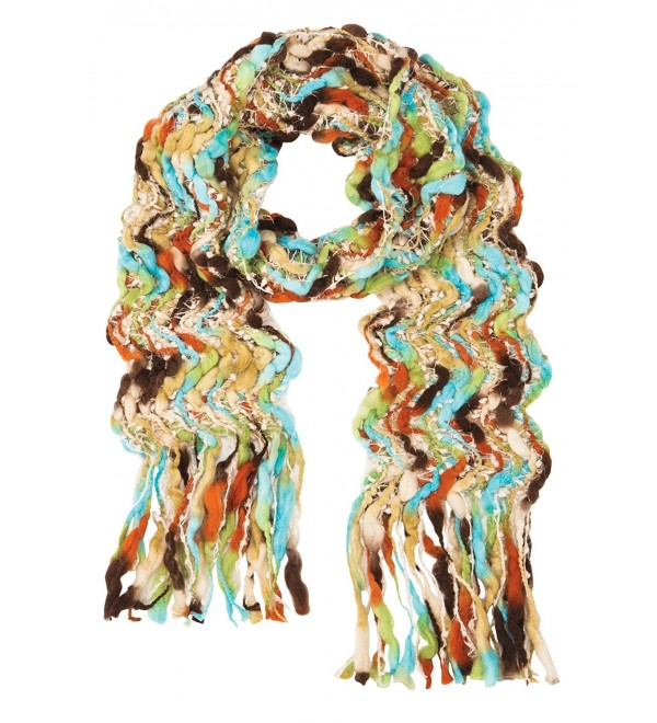 Women's Colorful Open Weave Scarf - Chunky Handcrafted Fringe Wrap - C6187UEOQRX