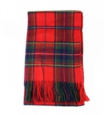 Creazy New Women Winter Infinity Blanket Oversized Shawl Plaid Check Tartan Scarf Wrap - Red - CX127QACF37