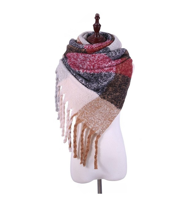 ADUO Warm Scarf Women's Fashion Long Shawl Big Grid Winter Warm Lattice Large Scarf - B-red Black Khaki Lattice - C2187I5S5QD