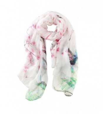 STORY OF SHANGHAI Womens Large Mulberry Silk Scarf Ladies Floral Print Shawl Wraps - Mm04 - CX17YHSYUKC