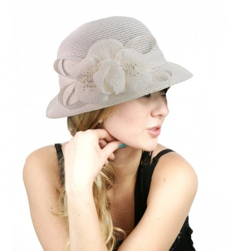 NYFASHION101 Side Flip Cloche Bucket Hat w/Woven Flower & Ribbon Accent- White - CS11W827DFZ