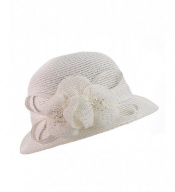 NYFASHION101 Cloche Bucket Flower Ribbon in Women's Bucket Hats