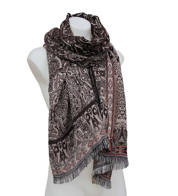 Terra Nomad Women's Soft & Silky Luxury Pashmina Scarf Shoulder Wrap Shawl - Brown/Taupe - CR188Y3YG24