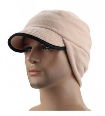 FEOYA Winter Warm Skull Cap With Earflap Outdoor Windproof Fleece Visor Hat - Beige - C212NULPMQE
