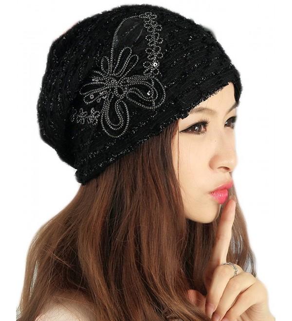 Qunson Womens Lace Sequin Butterfly Beanie Hat Cap Turban - Black - CI127J3EO45