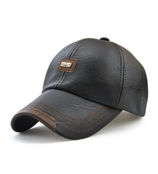 c890993c587965 Roffatide Men's PU Leather Baseball Cap Dad Hat Strapback Autumn and Winter  - Black - CB186RC0CO0