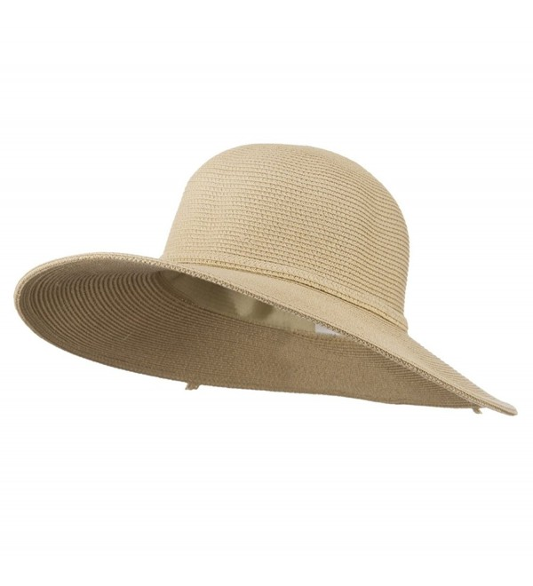 UPF 50+ Solid Cotton Paper Braid Flat Brim Hat - Tan W33S19B - C711D3H9TOR