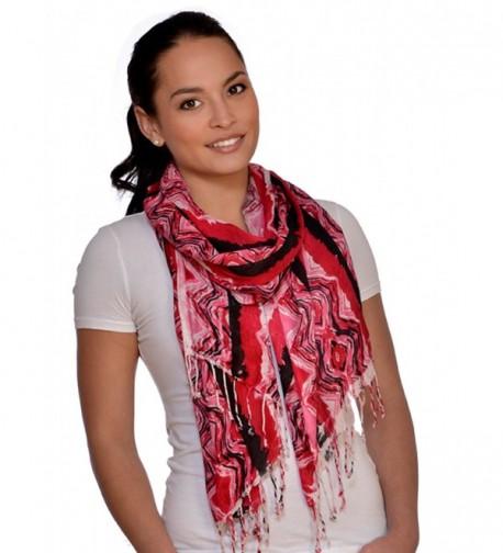 Amtal Women Red Black White Abstract Design Lightweight Soft Scarf w/Tassels - CI11HV7Y6FH