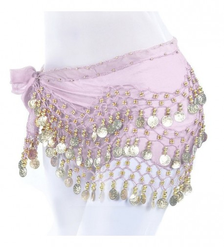 Women's Belly Dance Hip Skirt Scarf Wrap Belt With Chiffon Dangling Gold Coins - Pink - C318429TG3S