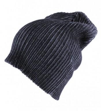 Morehats Two Tone Slouchy Knit Beanie Warm Winter Skater Ski Hip-hop Hat - Navy - CJ11PKZLHIB