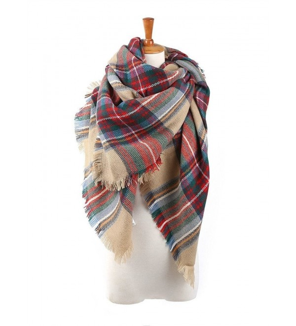 Plaid Checked Tartan Scarf Wrap Shawl - red camel - C71267ASQA7
