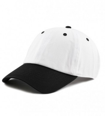 THE HAT DEPOT Unisex Blank Washed Low Profile Cotton and Denim Baseball Cap Hat - White/Black - CP1802MQ9T8