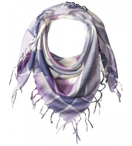 La Fiorentina Women's Plaid Checkered Scarf with Fringe - Blue - CI120RURRRD