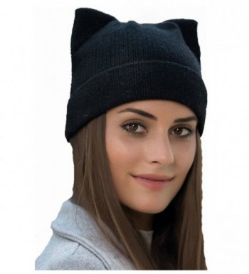 wanture Women's Hat Cat Ear Crochet Braided Knit Caps - Black - CJ186XUDNQK