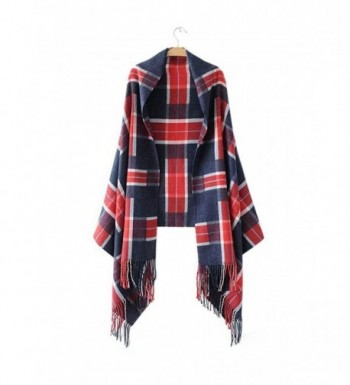 FFLMYUHULIU Women's Comfort Long Scarf Blanket Tartan Checked Poncho Shawl Wrap Cape - 0776-03 - C3186HIXQRL