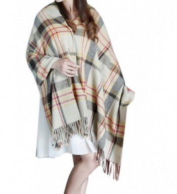 Choies Women's Plaid Print Button Fringed Shawl Cape Wrap Scarf - Camel - CL1294R9FPH