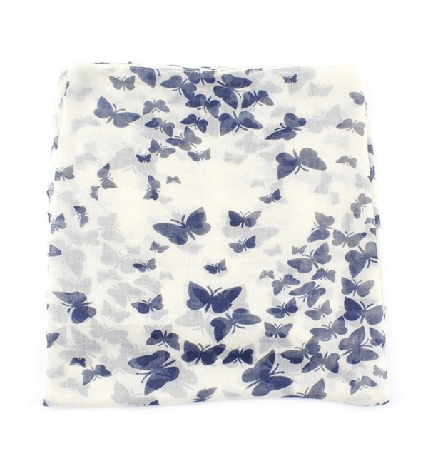ctshow butterfly Print Voile Print Scarf Fashionable Women Scarves shawl - White and Gray - CQ183R0SH8R