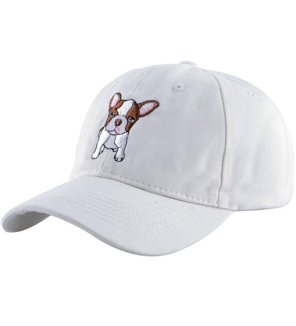 KISSBAOBEI Cotton Embroidery wheelbarrow Frog Baseball Cap Dad Hat - White-dog - CA17YEE3AKH