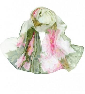 Deamyth Women Chiffon Scarves Flowers Printing Long Shawl Wrap Scarf Headscarf - Green - CS12N460S4N