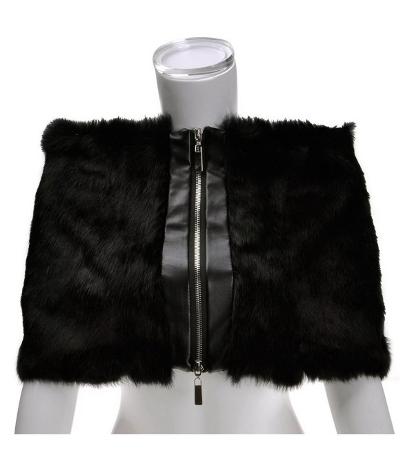 ZLYC Women Luxurious Elegant Simple Rex Rabbit Fur Wrap Shawl with Zipper Detail - Black - CL125DDWTVD