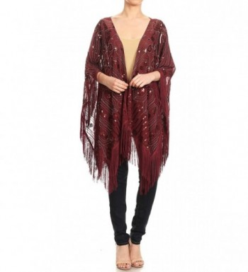 Anna-Kaci Womens Oversized Hand Beaded and Sequin Evening Shawl Wrap with Fringe - Burgundy - CB180MZNXZC