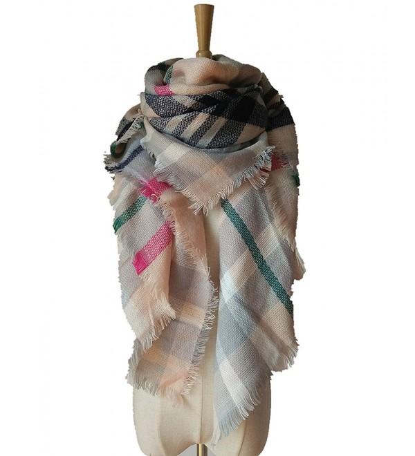 MIGAGA Soft Plaid Blanket Scarf Stylish Large Winter Warm Tartan Pashmina Wrap Shawl - Pink Grey - C812O0DZDSE