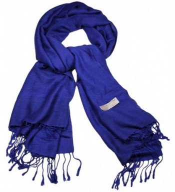 Women's Soft Pashmina and Silk Scarf Shawl Wrap by bogo Brands - Royal Blue - C812NTQQ203