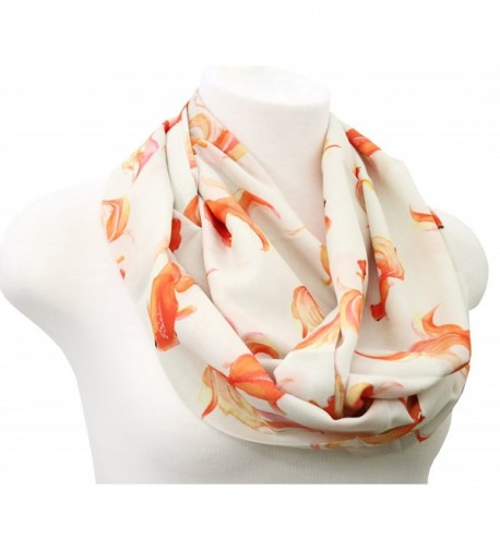 Goldfish infinity scarf beige loop scarf Birthday gift for her anniversary present - CV186R25K9I