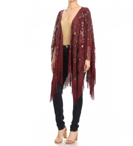 Anna Kaci Oversized Evening Burgundy Onesize in Fashion Scarves