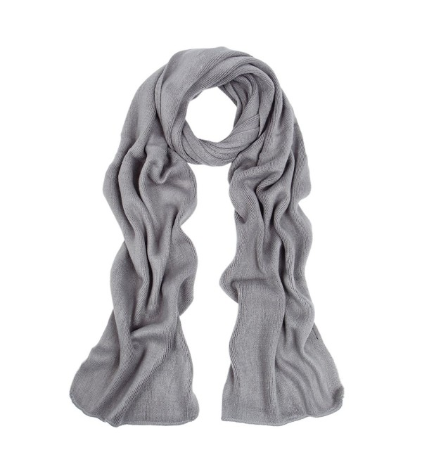 Premium Long Fine Knit Solid Color Warm Winter Scarf - Different Colors - Grey - C4127LE1C9H