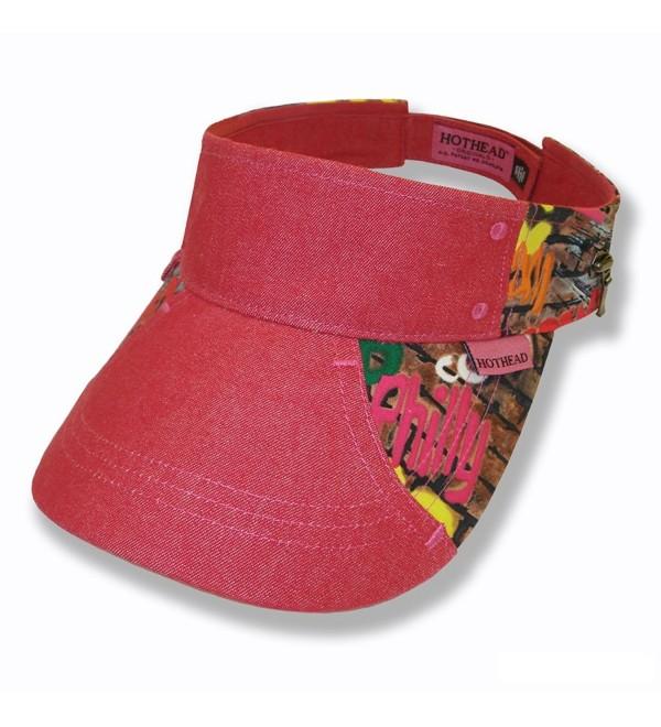 Hothead Wide Brim Sun Visor Hat in Graffiti with Red Denim - CF11D0VA60B