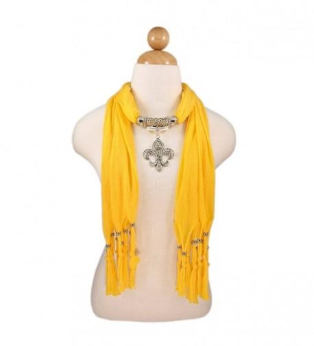 Elegant Charm Pendant Jewelry Necklace Scarf w/Fleur de lis Medallion-11 Colors - Yellow - CR11DSYHVVX