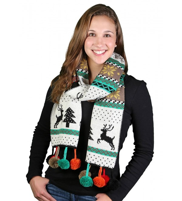 Funky Junque's Not Ugly Long Christmas Outdoor/Indoor Reversible Knit Scarf - Black - CM1281ONXED
