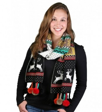 S 723 06 Christmas Reversible Scarf Black in Fashion Scarves