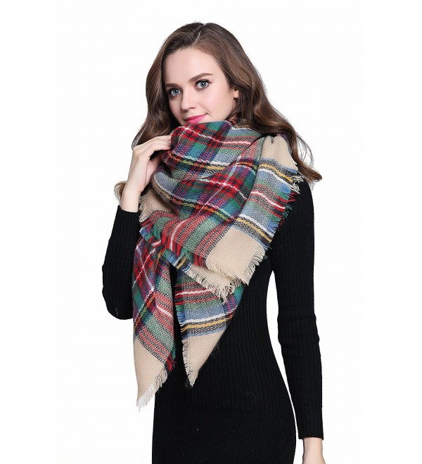 "Buttons and Pleats Women Plaid Blanket Shawl Scarf for Fashion Wear & Winter - ""Camel (Size 56""""x56"""")"" - C612J8V63WR"
