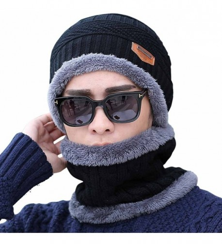 HindaWi Slouchy Beanie Winter Hats For Men Windproof Scarf Warm Snow Knit Skull Cap - _Hat and Scarf(black) - CG12OBLMDCL