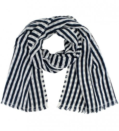 Classic Striped Lightweight Scarf Wrap - Blue - C0126OPIV39