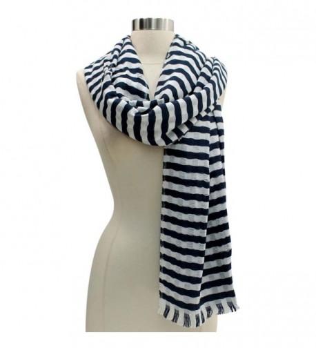 White Classic Stripe Lightweight Scarf