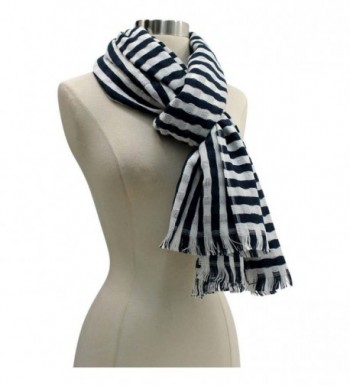 White Classic Stripe Lightweight Scarf in Fashion Scarves