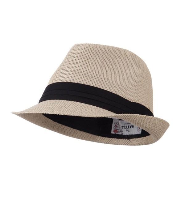 Pleated Hat Band Straw Fedora Hat - Tan W18S37F - C111E8U1PF9