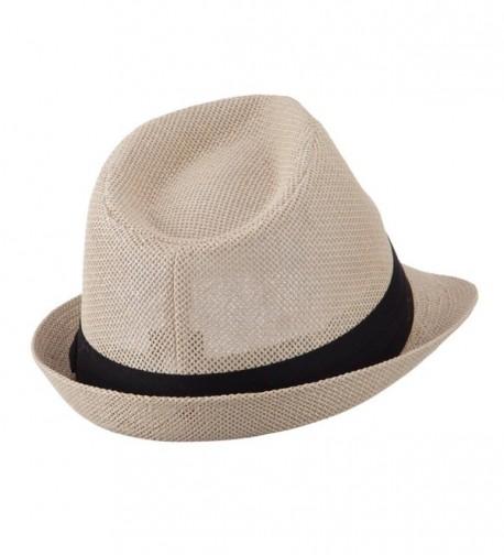Pleated Hat Band Straw Fedora