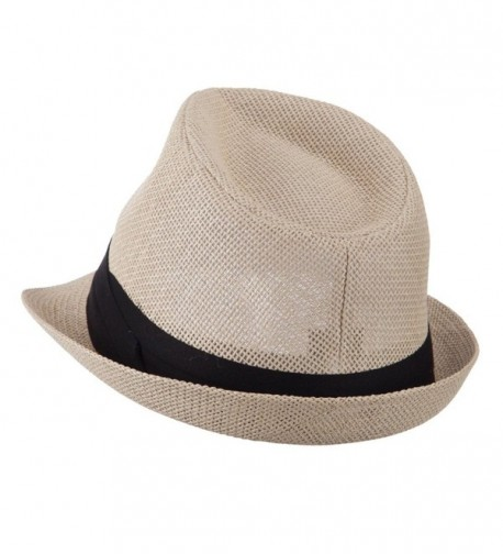 Pleated Hat Band Straw Fedora in Men's Fedoras