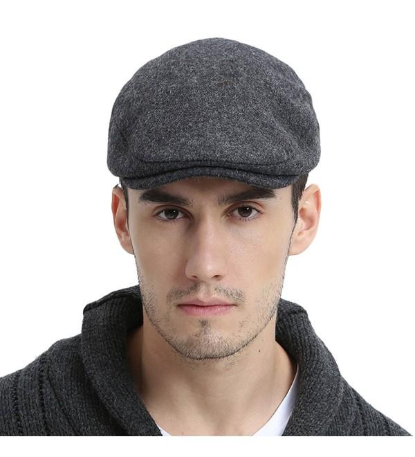 VOBOOM Mens Winter Wool Irish Tweed Caps newsboy Flat Cap Back Adjustable Stretch Fit - 187-grey - C6188ZEIAC4