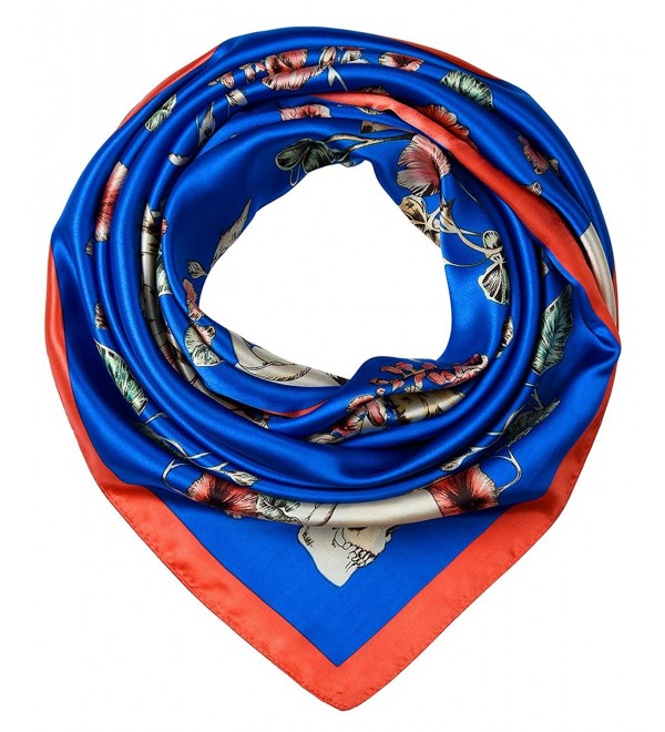 Ladies Pretty Satin Neckerchief Square Scarf headband 35 x 35 inches by corciova - 356 Morning Glory Sapphires - C31800KT7K9
