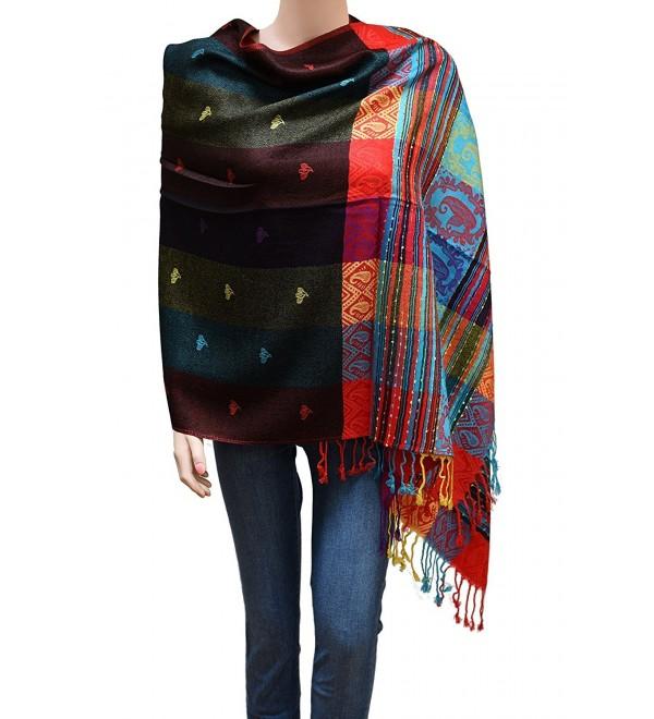 Flyingeagle Trade Women Rainbow Colorful Silky Pashmina Shawl Scarf Wrap - Black - CG183R90CKD