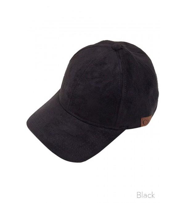 ScarvesMe CC Brand Suede Adjustable Baseball Cap - Black - CC12FHB7RTP